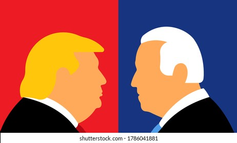 New York, Jul 29, 2020: Republican candidate Donald Trump and democratic candidate Joe Biden. United States presidential election 2020.