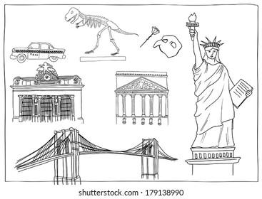 New York Landmarks, Hand Drawing
