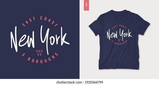 New York letter graphic mens t-shirt design, print, vector illustration.