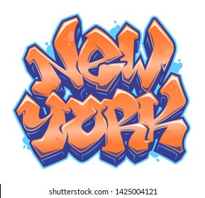New York lettering in readable graffiti style in vibrant orange and blue customizable colors. Isolated on white background.