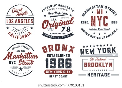 New York, Los Angeles  typography, badges set for t-shirt print. Vector