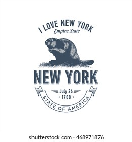 New York, I Love New York , stylized emblem of the state of America, beaver, blue color