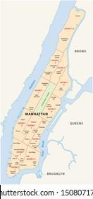 new york, manhattan district map