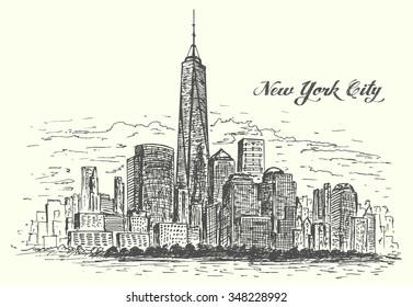 New York Manhattan hand drawn isolated vector illustration