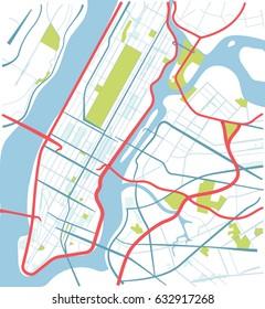 New York, Manhattan map in sketch style