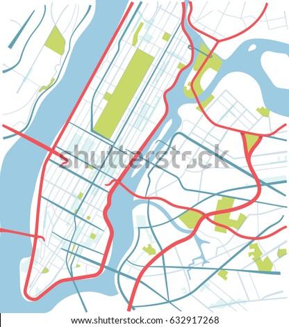 New York Manhattan Map Sketch Style Stock Vector Royalty Free