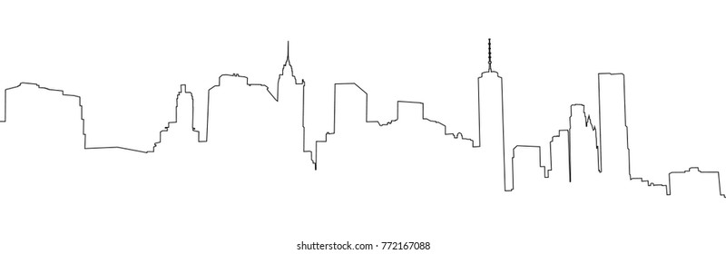 New York, Manhattan - view from Brooklyn.  NYC background. Vector Contour illustration.