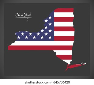 New York map with American national flag illustration