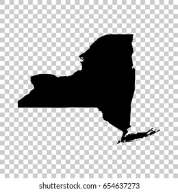 New York map isolated on transparent background. Black map for your design. Vector illustration, easy to edit.