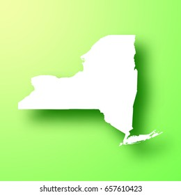 New York map isolated on green background with shadow. High detailed vector map. Vector illustration, easy to edit.