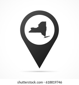 New York Map on location pin. Map pointer isolated on a white background. Conceptual vector illustration.