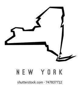 New York map outline - US state shape sharp polygonal geometric style vector.