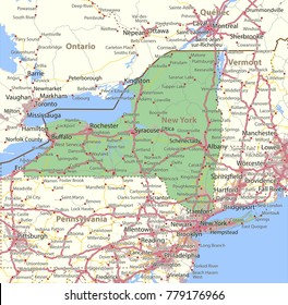 New York map. Shows state borders, urban areas, place names, roads and highways.Projection: Mercator.