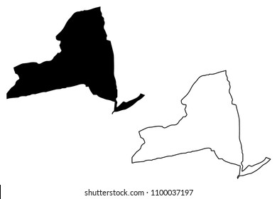 New York map vector illustration, scribble sketch  New York map