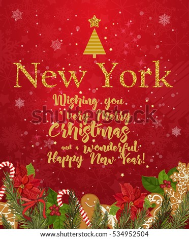 new york merry christmas and a happy new year greeting vector card on red background with