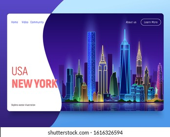 New York night skyline banner, flat vector illustration. Perfect for web design, banner, mobile app, landing page, vector flat design.