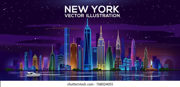 New York night skyline. Vector illustration. Business travel and tourism concept with modern buildings. Image for banner or web site.