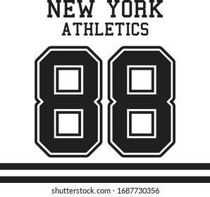 New York Number 88 Athletics and black bars Urban Girl Vector T-shirt Fashion Design