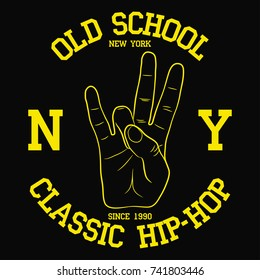 New York, NY Hip-Hop typography for design clothes, t-shirt. Print with East Coast hand gesture. Graphic for apparel with old school rap sign. Vector illustration.
