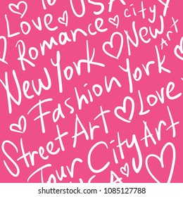 New York related words typographic calligraphic seamless repeating pattern / Vector illustration design for fashion fabrics, textile graphics, wallpapers, wrapping papers and other uses.