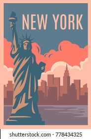 New York Retro Poster. Vintage style vector