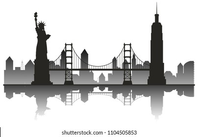 New York Silhouette Travel Landmark illustration