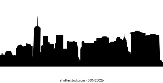 New York silhouette. Vector  NYC background.