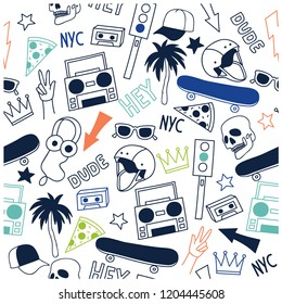 New York skate seamless pattern. Cute repeat pattern for kids.Vector illustration design for fashion fabrics, textile graphics, prints, wallpapers and other uses.