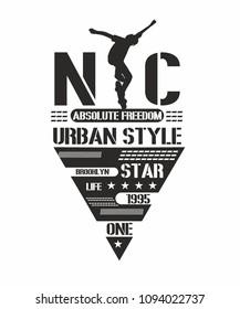 new york skateboarding graphic design vector art