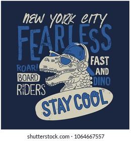 New York skater dinosaur vector print.Funny t-shirt design.