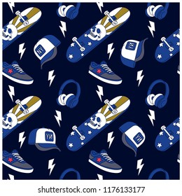 New York skater seamless pattern.Skateboard,cap,shoes,headphone drawing.Skateboard print.Vector illustration design for fashion fabrics, textile graphics, prints, wallpapers and other uses.
