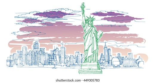 New York sketch vector set. The statue of Liberty, city skyline, skyscrapers, sky, clouds, sunset. Beautiful view of the city.