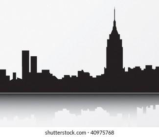 New York Skyline, black
