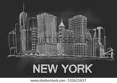 New York Skyline Black White Vector Stock Vektorgrafik Lizenzfrei