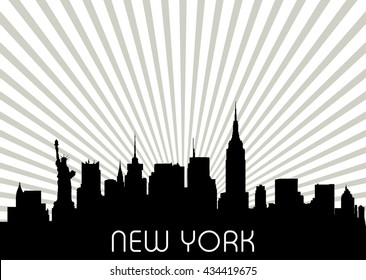 New York skyline. Detailed vector silhouette.