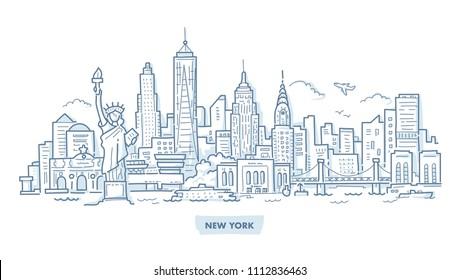 New York Skyline with Famous Landmarks. Hand Drawn Doodle Illustration