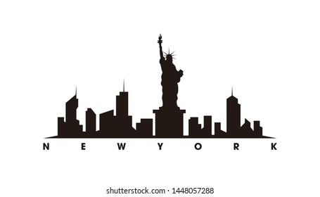 New York skyline and landmarks silhouette vector