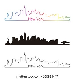 New York skyline linear style with rainbow in editable vector file