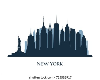 New York skyline, monochrome silhouette. Vector illustration.