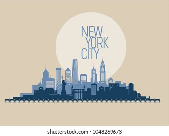 New York skyline with its most notable buildings, detailed. Vector illustration.