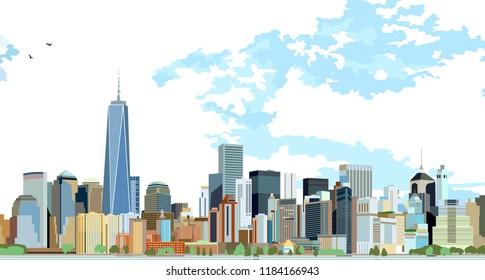 New york Skyline. Panorama of new York. Manhattan financial district. Vector illustration.