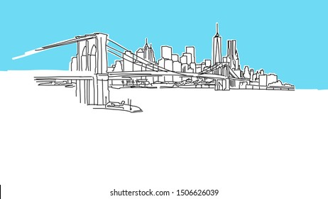 New York  Skyline Panorama Vector Sketch. Hand-drawn Illustration on blue background.
