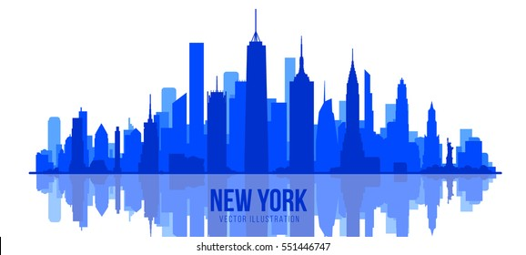 New York skyline silhouette.