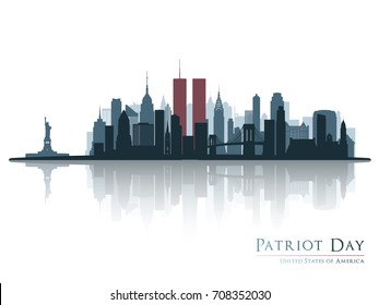 New York skyline silhouette. Patriot day. New York view before september 11 2001. In the reflection of a modern city.