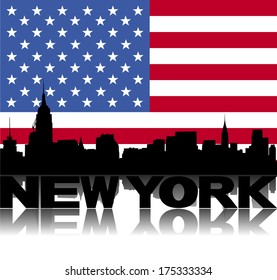 New York skyline and text reflected with flag vector illustration
