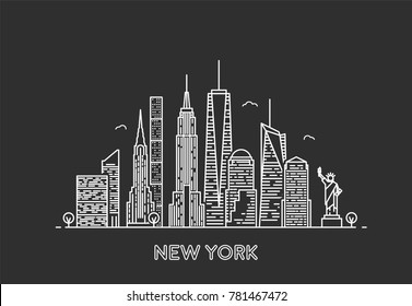 New York skyline. Travel and tourism background. Line art style