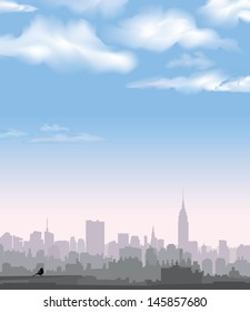 New York Skyline. Vector USA landscape. Cityscape in the early morning. Manhattan Skyline with Empire State Building