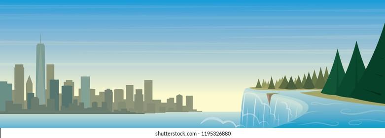 New York State Landmarks and Landscape Scene