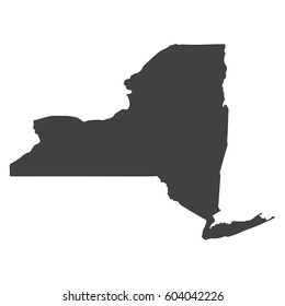 New York state map in black on a white background. Vector illustration