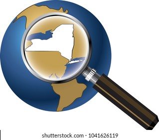 New York State Map Enlarged with Magnifying Glass on Globe